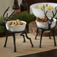 SLEIGH & REINDEER SET (SLEIGH AND 2 REINDEER STANDS WITH BOWLS)