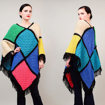 Vintage 70s Color Block Hand Knit Poncho Fringed 1970s Afghan Granny Sweater Cape Boho Hippie ONE SIZE
