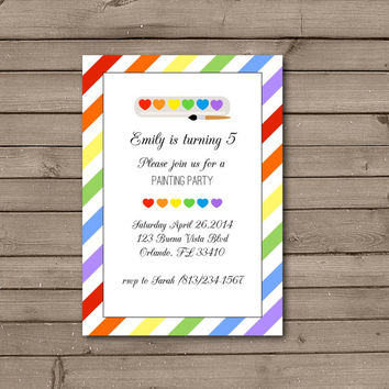 Rainbow Art Birthday Party Invitations: Heart or Circle Design