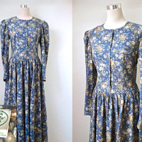 Vintage Laura Ashley Dress - Cotton And Wool - Grey Blue - Prairie Dress - Floral Tea Dress - 1980s Midi Dress