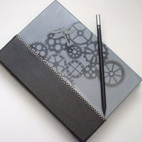 "Steampunk Quarter Bound Journal. ""Dragonfly Gears"". Faux Black Diamond Embellishment. Handpainted Limited Edition. FREE POSTAGE."