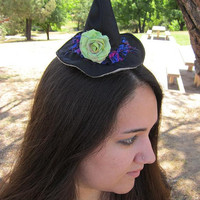 Halloween Witch Black  Hat with Bright Green Flower