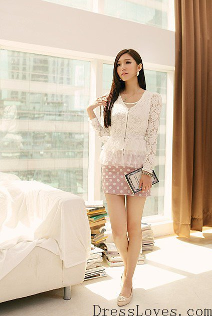 Women Polyester Pink Round Neckline Sleeveless One Size Round Dot Fashion Dress@T3038