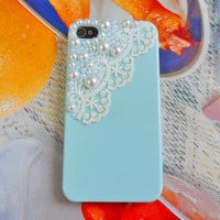 Beautiful blue hard case made of  pearl for iPhone 4GS case iPhone 4 case ,iPhone 4 s case,  SJK-1884