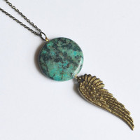 Turquoise Feather Necklace. Angel Wing Bohemian Layering Necklace.