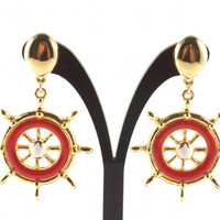 Vintage Sailor Earrings Ship's Wheel Nautical Jewelry by Avon Star Gold Red and White Enamel