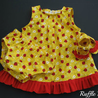 Infant sundress in yellow with ladybugs print, set includes matching panties, ruffled shoes, headband w/bow , Size 6-9 months