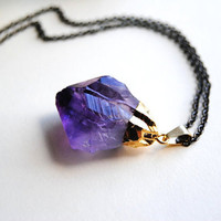 Gold Dipped Amethyst Crystal Necklace  Free by sparklefarm on Etsy