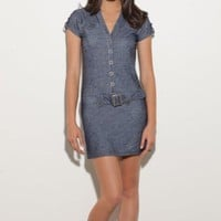 Amazon.com: G by GUESS Ryleigh Stretch Shirt Dress: Clothing