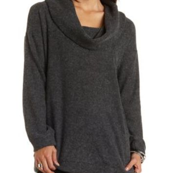 Slouchy Cowl Neck Tunic Sweater by Charlotte Russe - Charcoal Heather