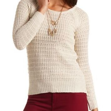 Scoop Neck Pullover Sweater by Charlotte Russe - Ivory
