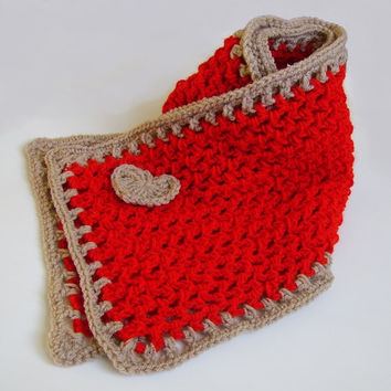 Scarf, Soft Red and Beige, with Beige Heart, Lace Handmade Crochet, Freeshipping