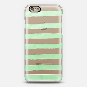 Pastel Mint Stripes (transparent) iPhone 6 case by Lisa Argyropoulos | Casetify