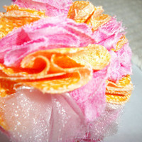Puff Ball Flower- Pink/Orange/Sparkley- Headband- Sweet And Wild Things