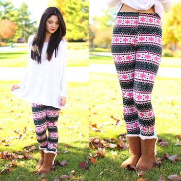 Meet Me Under The Mistletoe Fleece Line Leggings