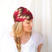 Chevron Headband Hairwrap  turban red arrow womens bohemian fall fashion