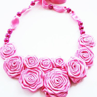 Pink Flower Bouquet Chic Necklace