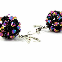 DISCO BALL Bead Woven Swarovski Crystal Earrings, Summer Fashion, Purple