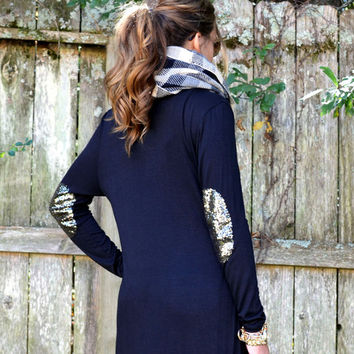 To The Max Black Sequin Elbow Maxi Cardigan