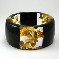 Black Resin and Amber Bangle model 3/3 /S, Resin Bracelet