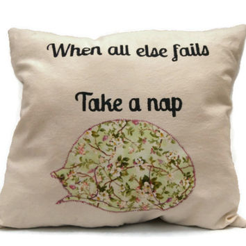 When All Else Fails Take A Nap Decorative Throw Pillow, Cotton Canvas Pillow, Colorful Pillow,Stenciled Pillow,Decorative Pillow, Cat Pillow