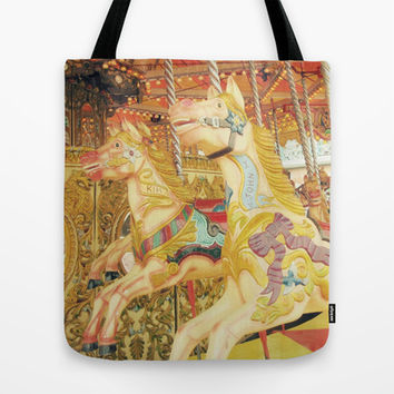 Fond Memories of Childhood : The Carousel Horse Tote Bag by lilkiddies