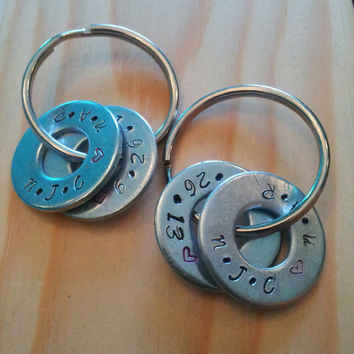 Hand Stamped Keychain Personalized Keychain Couples Keychain Washer w/ Name & Date