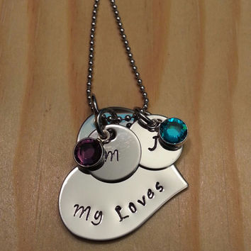 Hand Stamped Mommy Necklace My Loves Necklace - My Heart Necklace - Personalized Necklace
