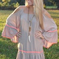 Bangles Boutique — MOCHA EMBROIDERED BELL SLEEVE DRESS