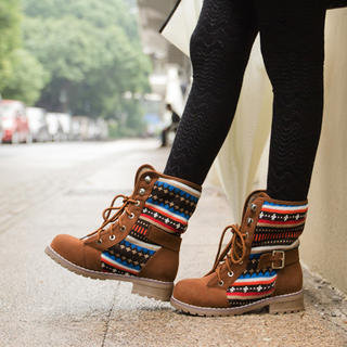Belted Knit (Aztec Tribal) Panel Lace-Up Boots