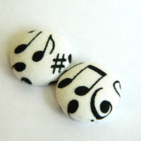 Button Earrings Black- White Music Notes