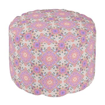 Faded Moroccan Round Pouf by KCS
