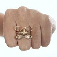 Gold Three Ring Glasses Nose and Mustache Shape Ring