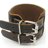 Bangle buckle bracelet  leather bracelet men bracelet boys bracelet unisex bracelet made of brown leather and double metal buckle SH-1328