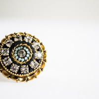Midnight Moon - 24k gold ring adjustable swarovski crystals opal blue