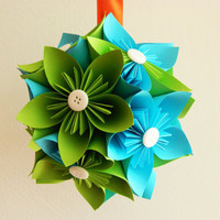 Kusudama medium ball GREEN&TURQUOISE