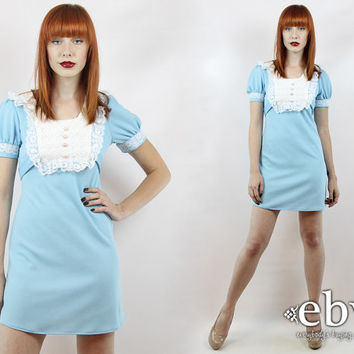 Babydoll Dress Vintage 70s Blue + White Puff Sleeve Mini Dress Dolly Dress XS S Lolita Dress Blue Dress Puff Sleeve Dress