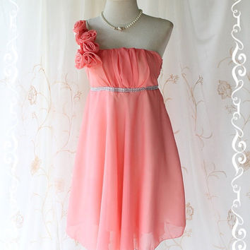 Juliet's Party ll - Gorgeous Peachy Cocktail Dress Flowers Draped One Shoulder Strap Crystal Bead Tab Attached Wedding Bridesmaid Prom SizeM