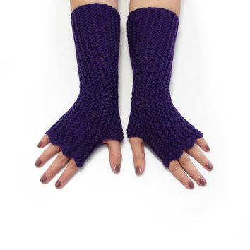 Dark purple fingerless mittens in soft acrylic, texting gloves, seamless handknit soft armwarmers, choose your color