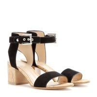gianvito rossi - suede and cork sandals