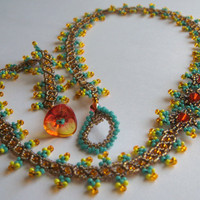 Orange and Teal Beadwork Necklace