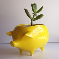 Ceramic Pig Planter Vintage Design in Lemon Yellow