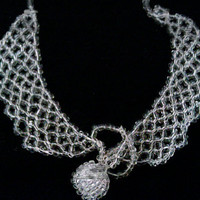 Woven Glass Bead Collar Necklace