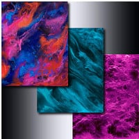Print Set: 3 Jewel Tone 5 x 7 Abstract Giclees