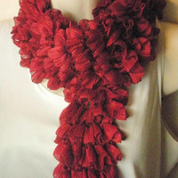 Ruby Red Flamenco Ruffled Scarf Spring/Summer Fashion
