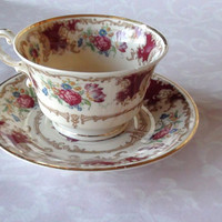 1950s Vintage Mini 2 X 2 1/2  Tea Cup and Saucer 4 2/8 diam Romance Marron by Syracuse Excellent Condition