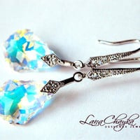 Wedding Swarovski Crystal Earrings Aurora Borealis Baroque Cubic Zirconia Rhodium Sterling Silver Dangle Bridal FREE US Shipping