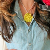 MUSTARD BLOOM: large yellow pendant flower by LittleMissMomma