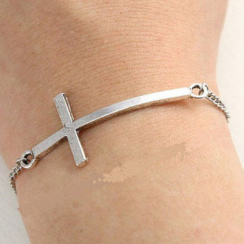 antique silver cross bracelet