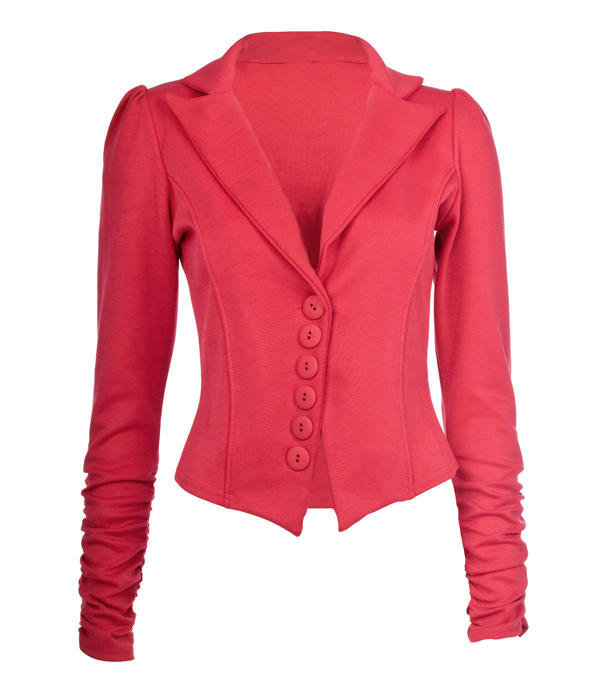 Red Gathered Sleeve Blazer - Clothing - desireclothing.co.uk